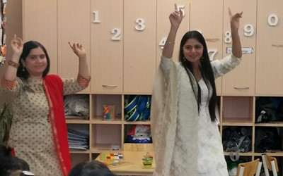 Children and teachers celebrate Diwali at Lollipops Newton Road daycare