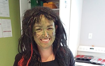 Teacher celebrating Halloween at Lollipops Papamoa childcare